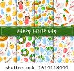 easter day   seamless pattern... | Shutterstock .eps vector #1614118444