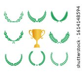 green realistic set of circular ... | Shutterstock .eps vector #1614148594