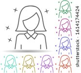 woman worker avatar multi color ...