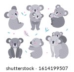 koalas vector set. funny gray... | Shutterstock .eps vector #1614199507