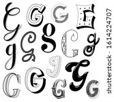 hand drawn set of different... | Shutterstock .eps vector #1614224707