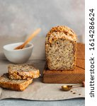 Small photo of whole wheat gluten free bread with flax seads sunflower chia seads sesame. side view with copy space
