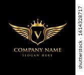 luxury royal wing letter v... | Shutterstock .eps vector #1614328717