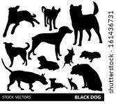 Set Of Dogs Silhouette. Vector...