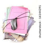 Isolated stack of folders with computer mouse shot over white background - stock photo