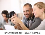 students in photography working ... | Shutterstock . vector #161443961