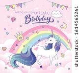 birthday greeting card with a...   Shutterstock .eps vector #1614565261