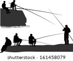 illustration with fishermen... | Shutterstock .eps vector #161458079