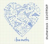 Illustration of maths doodles in heart shape