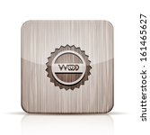 vector wooden app icon on white ...