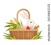 Easter Basket With Painted Eggs ...