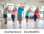 fitness class and instructor... | Shutterstock . vector #161466851