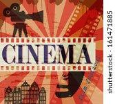 Retro cinema poster, vector illustration