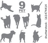 9 pet silhouettes | Shutterstock .eps vector #161474414