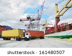 trucks in container terminal in ... | Shutterstock . vector #161480507
