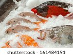 Fresh fishes seafood background, Azores, Portugal - stock photo