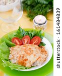 baked meat with mushrooms | Shutterstock . vector #161484839
