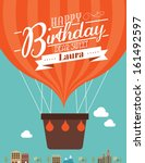 hot air balloon birthday... | Shutterstock .eps vector #161492597