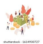 cartoon tiny people working... | Shutterstock .eps vector #1614930727