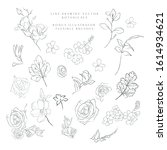 collection of delicate line art ...   Shutterstock .eps vector #1614934621