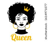 black queen. black woman. afro... | Shutterstock .eps vector #1614971077