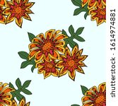 seamless pattern with beautiful ... | Shutterstock .eps vector #1614974881