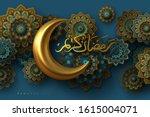 ramadan kareem banner with 3d...   Shutterstock .eps vector #1615004071