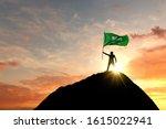Saudi Arabia Flag Being Waved...