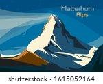 Matterhorn, Swiss Alps. Landscape of Alps with Matterhorn, vector illustration - stock vector