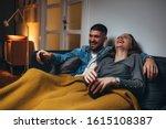 Romantic Couple Laying Sofa In...