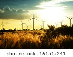 eco power  wind turbines at... | Shutterstock . vector #161515241