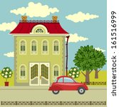 city landscape with old house ... | Shutterstock .eps vector #161516999