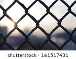 close up of metal grid against... | Shutterstock . vector #161517431