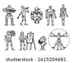 robots set sketch engraving... | Shutterstock . vector #1615204681