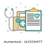 stethoscope with first aid kit... | Shutterstock .eps vector #1615234477