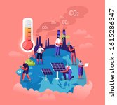 global warming concept. tiny... | Shutterstock .eps vector #1615286347