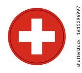 Round Flag Of Switzerland On...