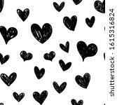 heart doodles seamless pattern. ... | Shutterstock .eps vector #1615316824