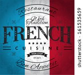 French Cuisine Label On Grunge...