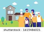grandparents parents and kids... | Shutterstock .eps vector #1615486021