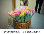 Basket with colorful bouquets...