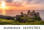 Ruined medieval dunluce castle...