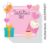 happy valentines day card with...   Shutterstock .eps vector #1615599697