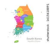 south korea map  republic of...   Shutterstock .eps vector #1615618891