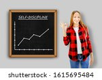 Young Woman Showing Board With...