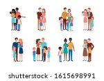 set of mother father and kids...   Shutterstock .eps vector #1615698991