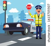 traffic police officer uk... | Shutterstock .eps vector #1615705507