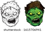 creepy green zombie head with... | Shutterstock .eps vector #1615706941