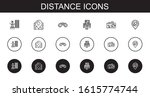 distance icons set. collection...