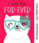 cute cat cartoon illustration... | Shutterstock .eps vector #1615800361